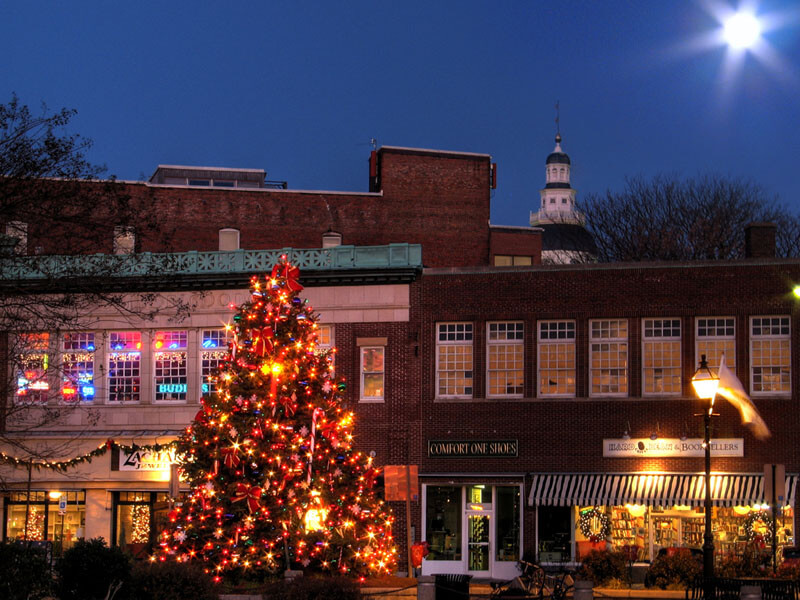 Photo of decorations adorning downtown businesses during the holiday season in Annapolis
