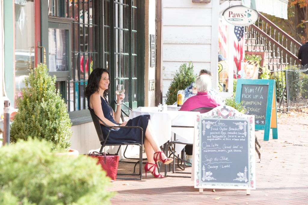 Photo of Rachel Frentsos dining in downtown Annapolis