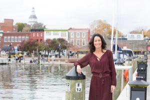Photo of - your Annapolis lifestyle expert Rachel Frentsos at the Annapolis City Dock