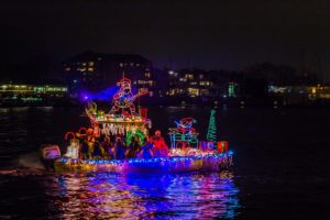Photo of yacht decorated for the annual Annapolis parade of lights - a popular event during the holiday season in Annapolis